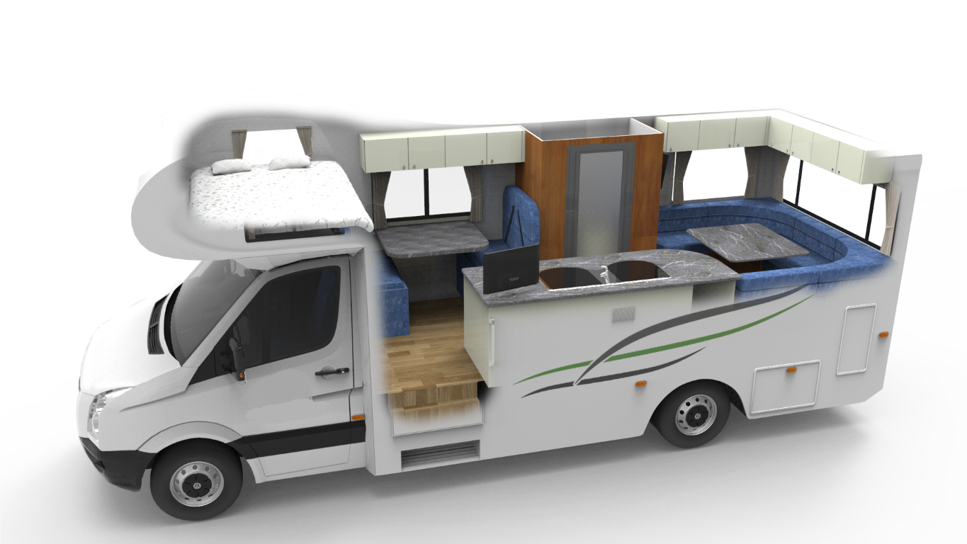 6 berth motorhome with toilet and shower for Rv height